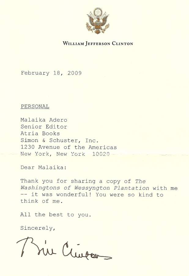 Letter from former President Bill Clinton