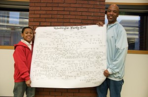 Jordan and Johnathan Terry display Washington Family Tree