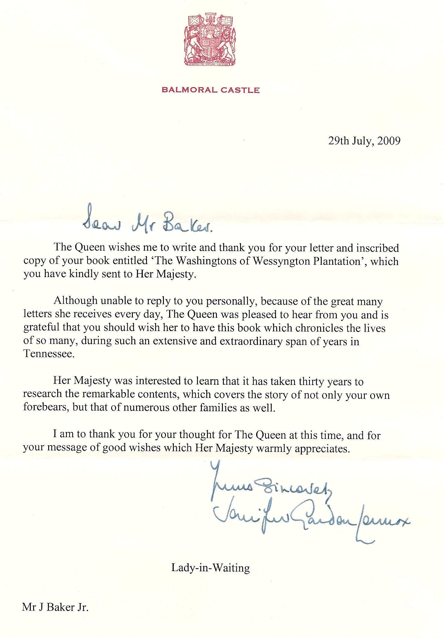 A thank you letter from her majesty queen elizabeth the letter from queen elizabeth expocarfo